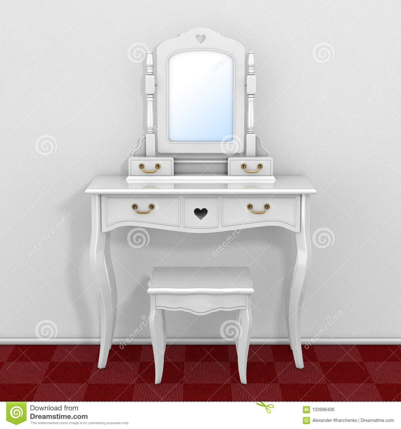 Antique Bedroom Vanity Table With Stool And Mirror In Room ...