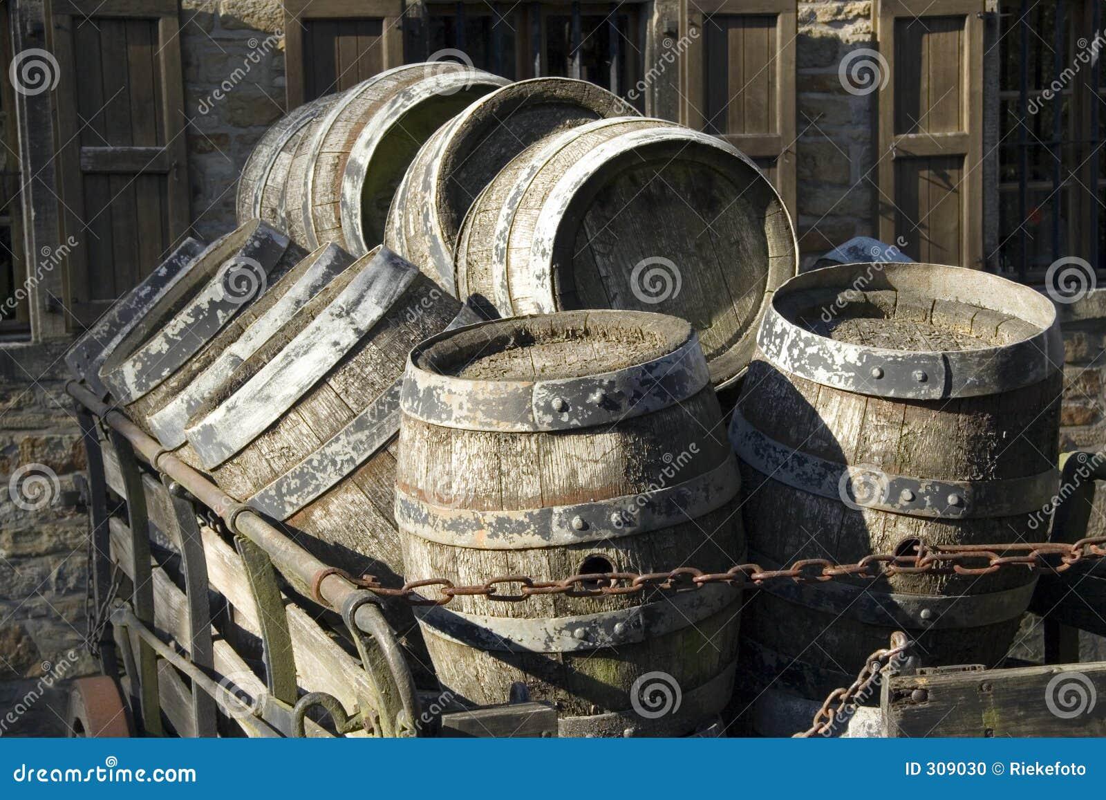 Antique beer barrels