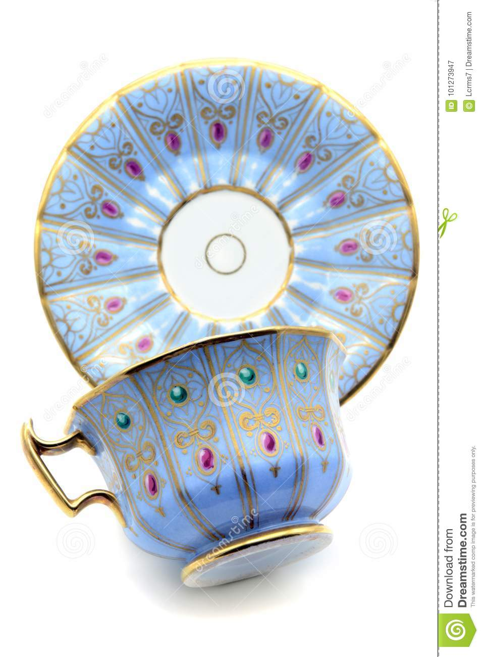 Antique biedermeier time coffee cup on white isolated background