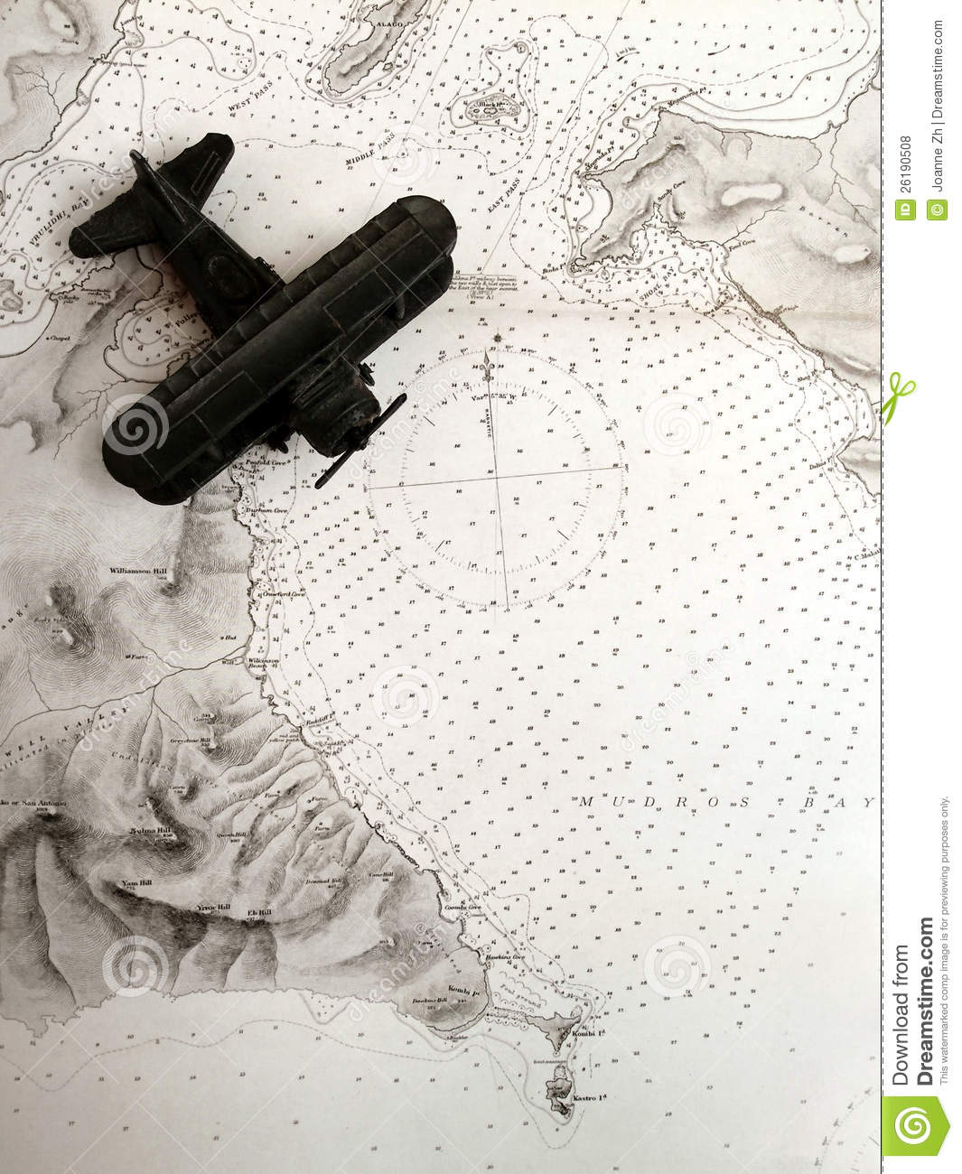 Antique biplane on old map