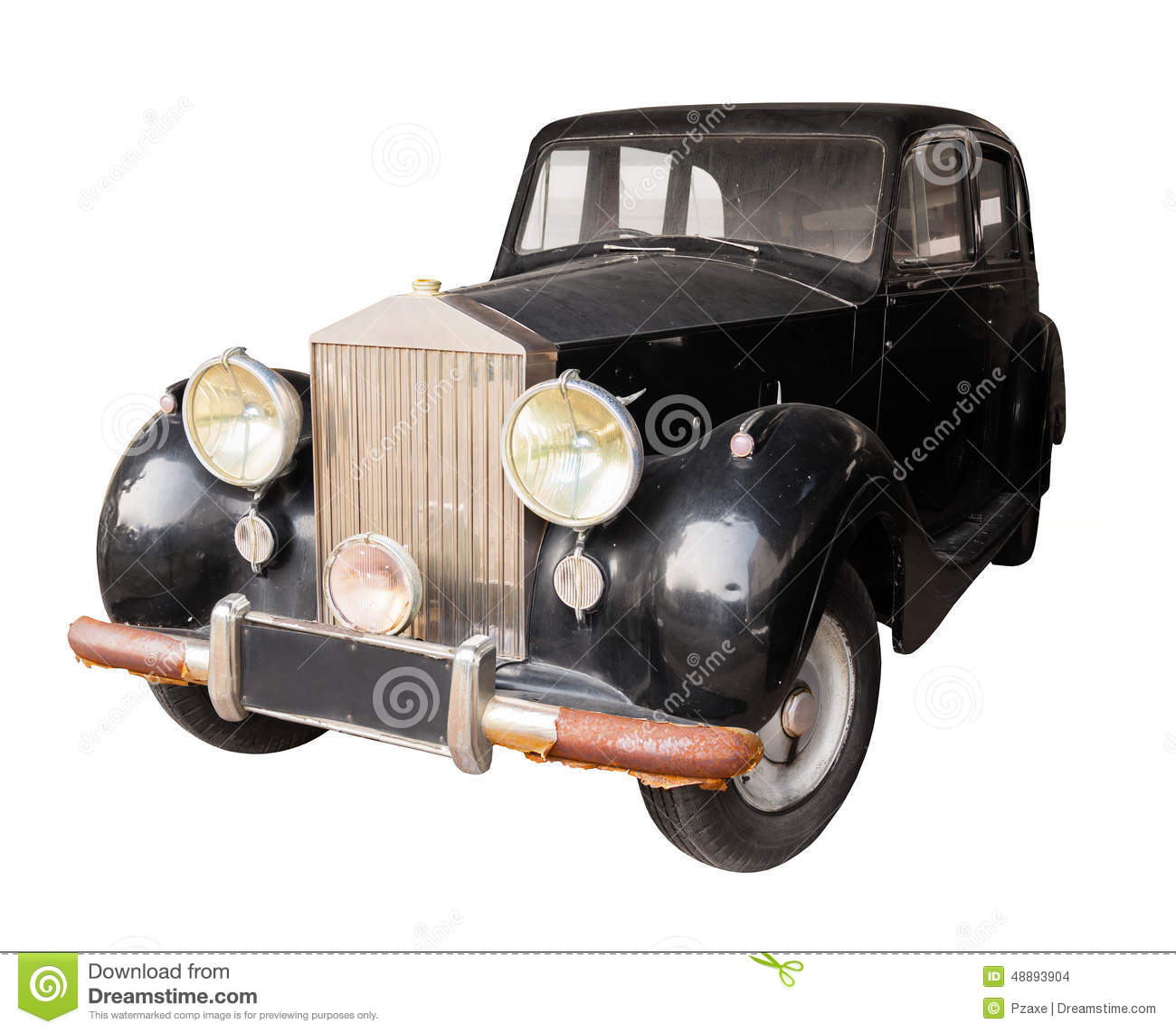 Antique Black Car Isolated Against A White Background Stock
