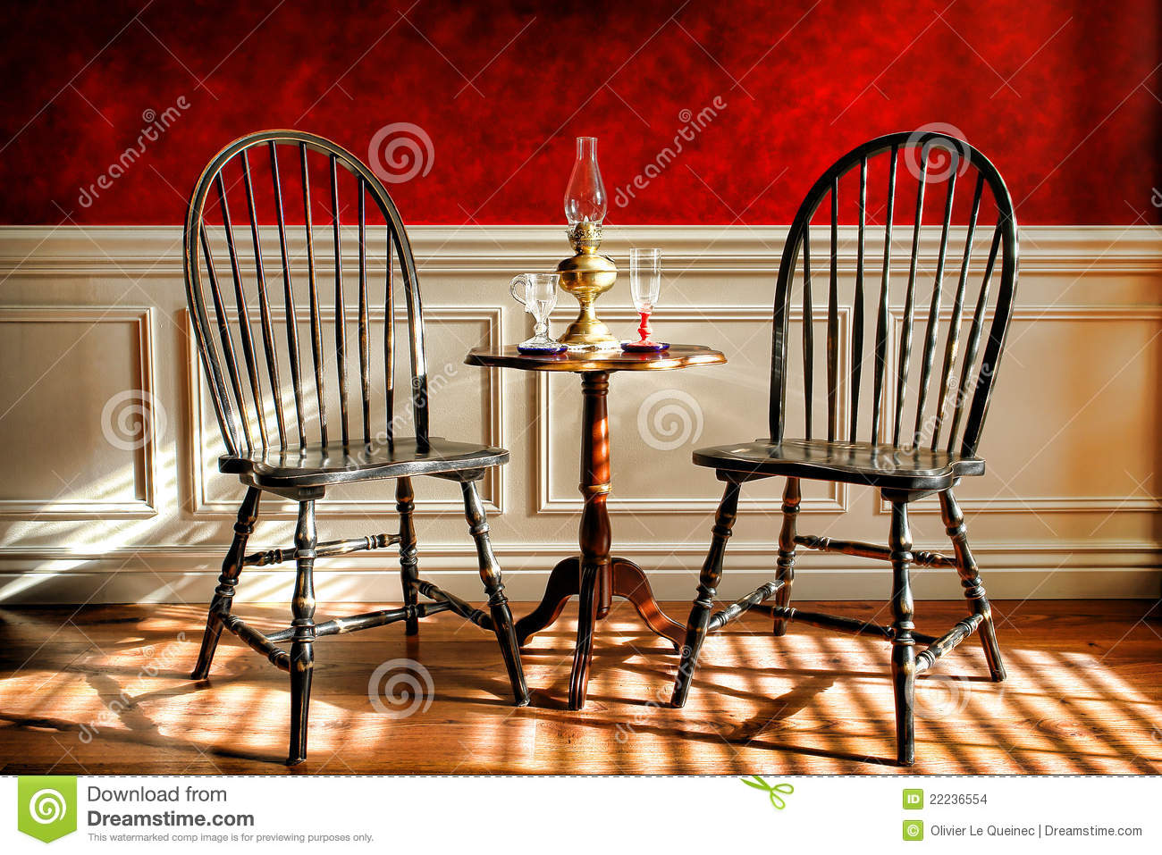 Antique Black Windsor Chairs In Old Historic Home Stock