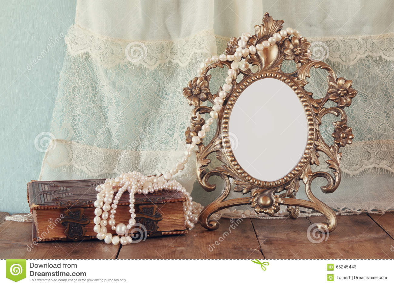 Wooden old style bed with ornaments royalty free stock for Small vintage style picture frames