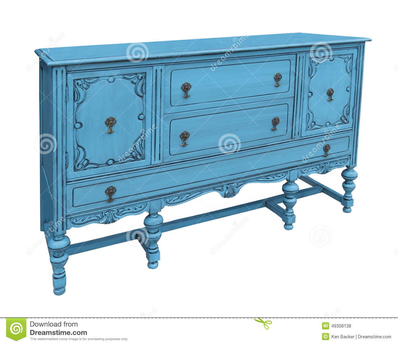 Picture of: Antique Blue Buffet Isolated Stock Photo Image Of Cupboards Cabinet 49308138