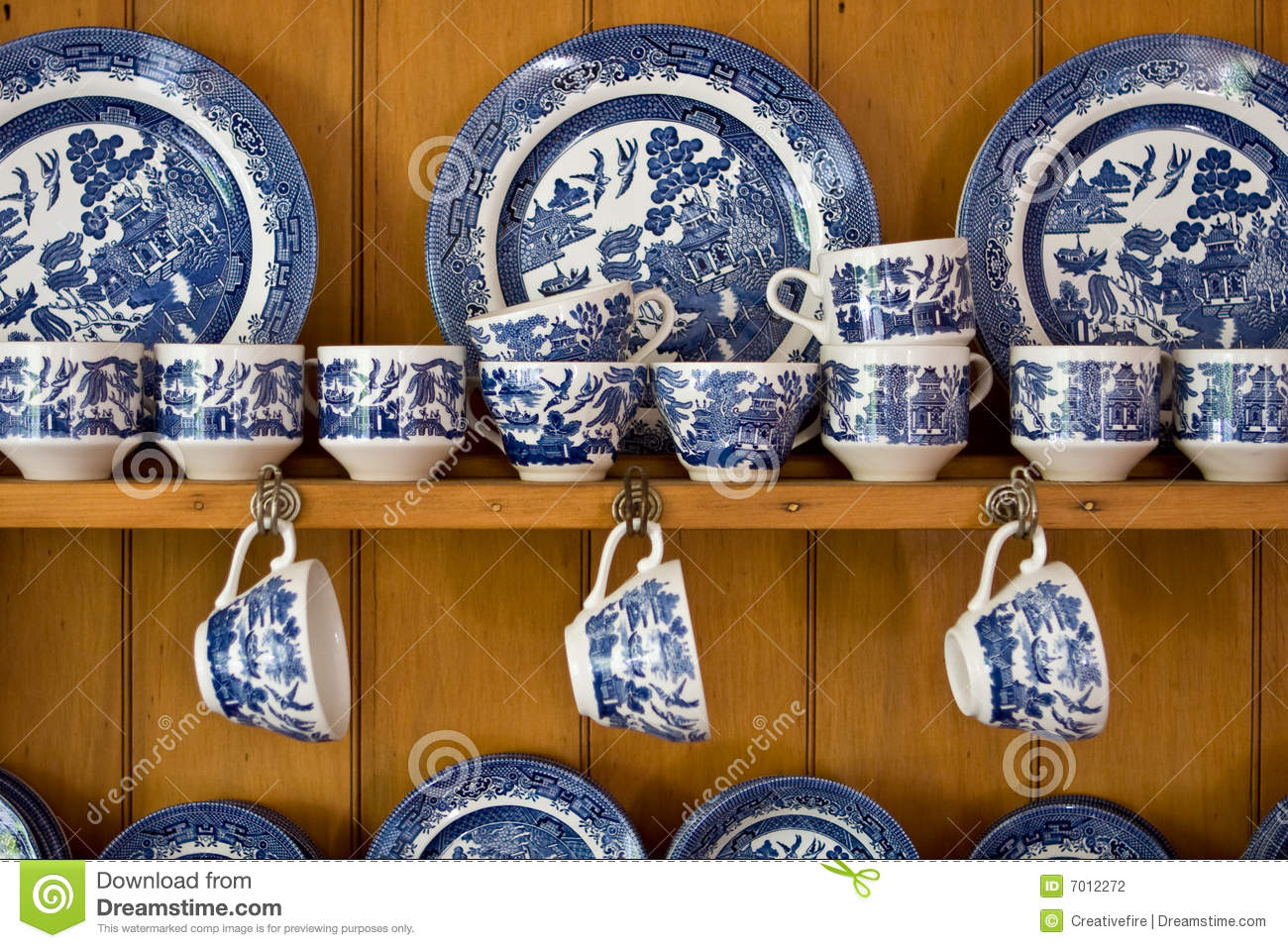 Antique Blue China On Sideboard Stock Photo Image 7012272