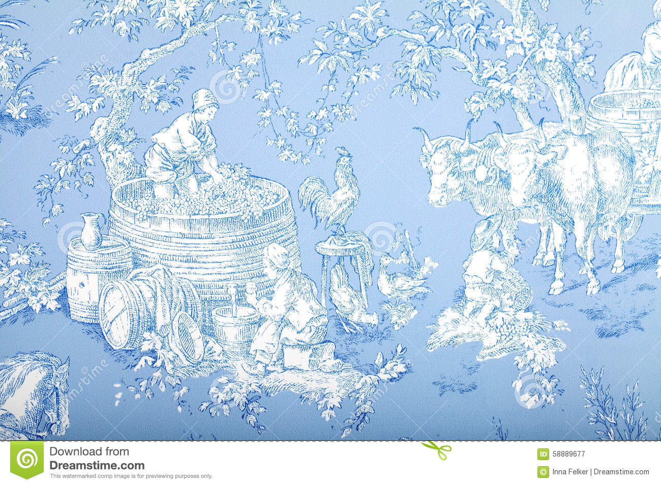 40e1b0d937dc Antique blue and white french baroque pattern wallpaper depicts pastoral  men and women wine making.