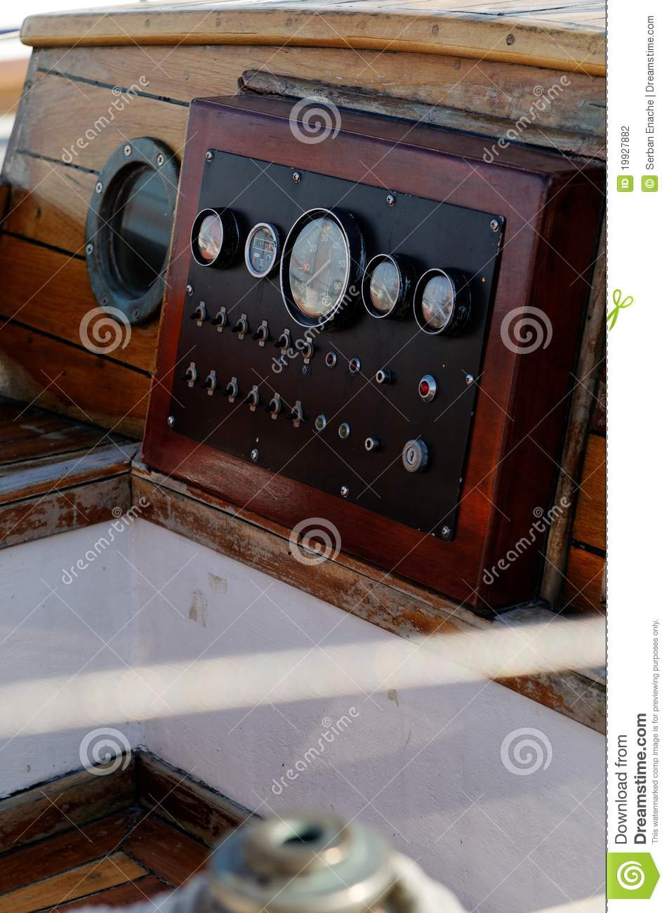 Antique Boat Instrument Panel Stock Photo - Image of aged ...