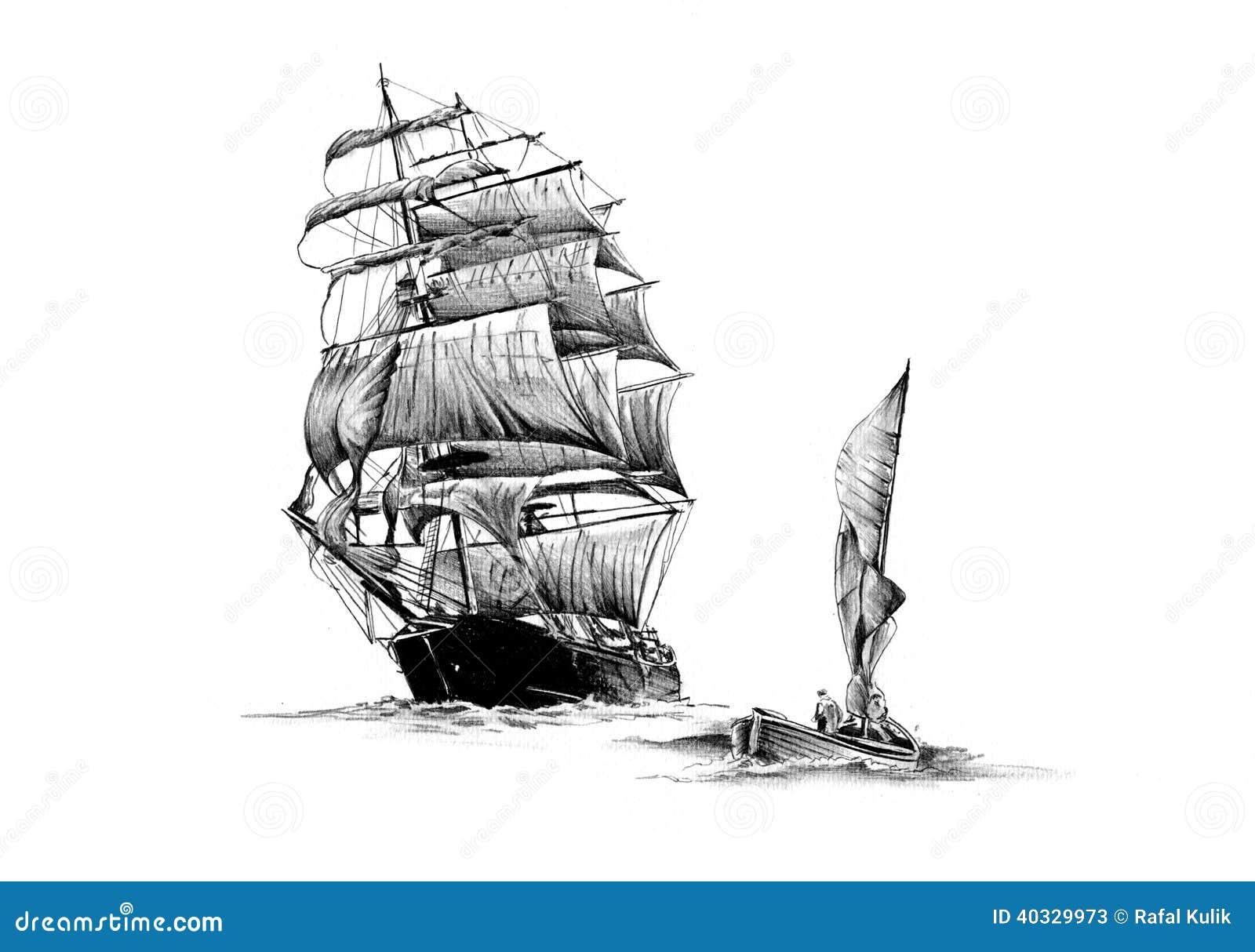 Vintage Sailboat Sketch Antique boat sea motive
