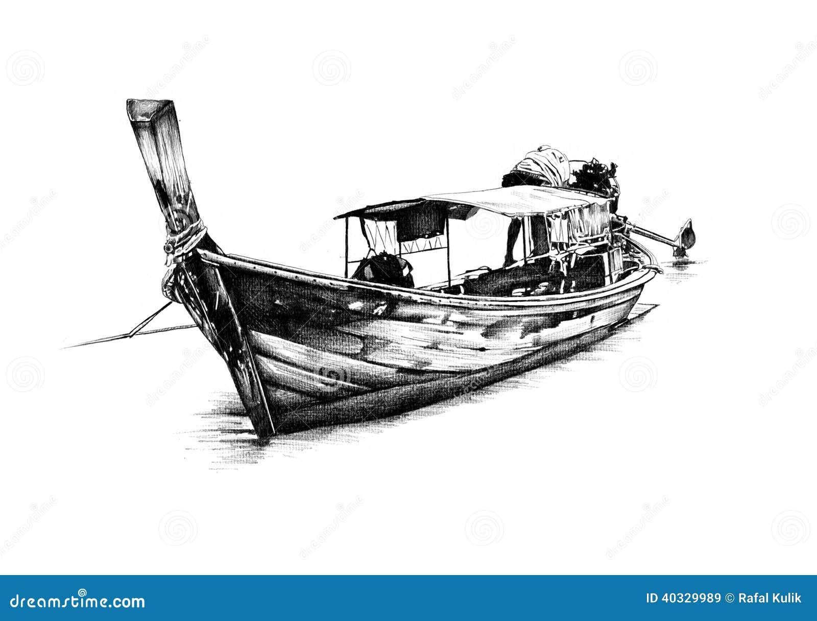 Antique Boat Sea Motive Drawing Handmade Stock Illustration - Illustration of ocean, seal: 40329989