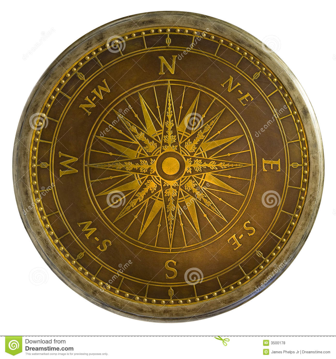 Antique Brass Compass Stock Photo Image Of East North