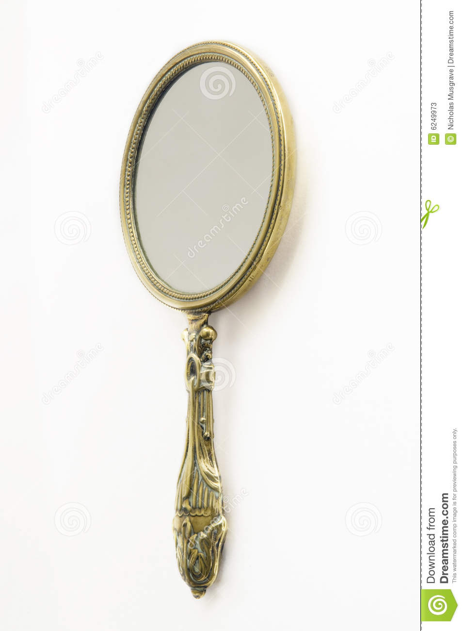 Antique Brass Hand Mirror Stock Image Image Of Glass