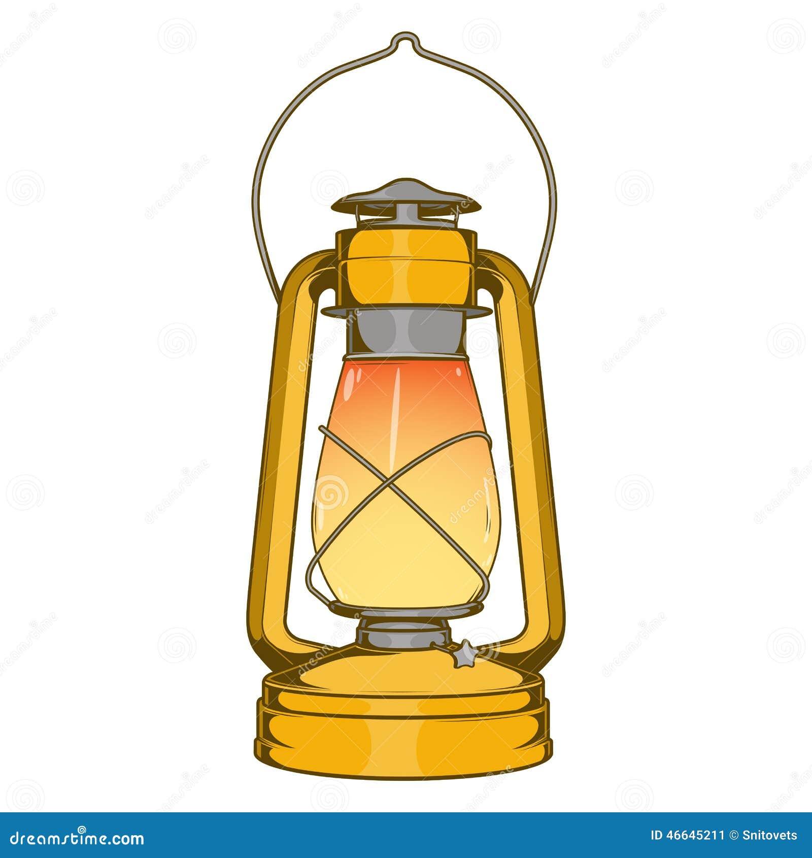 Antique Brass Old Kerosene Lamp Isolated On A White