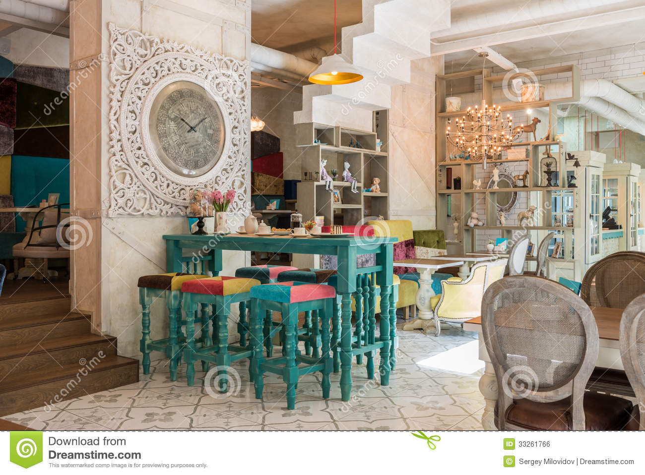 Antique cafe interior stock photo image of