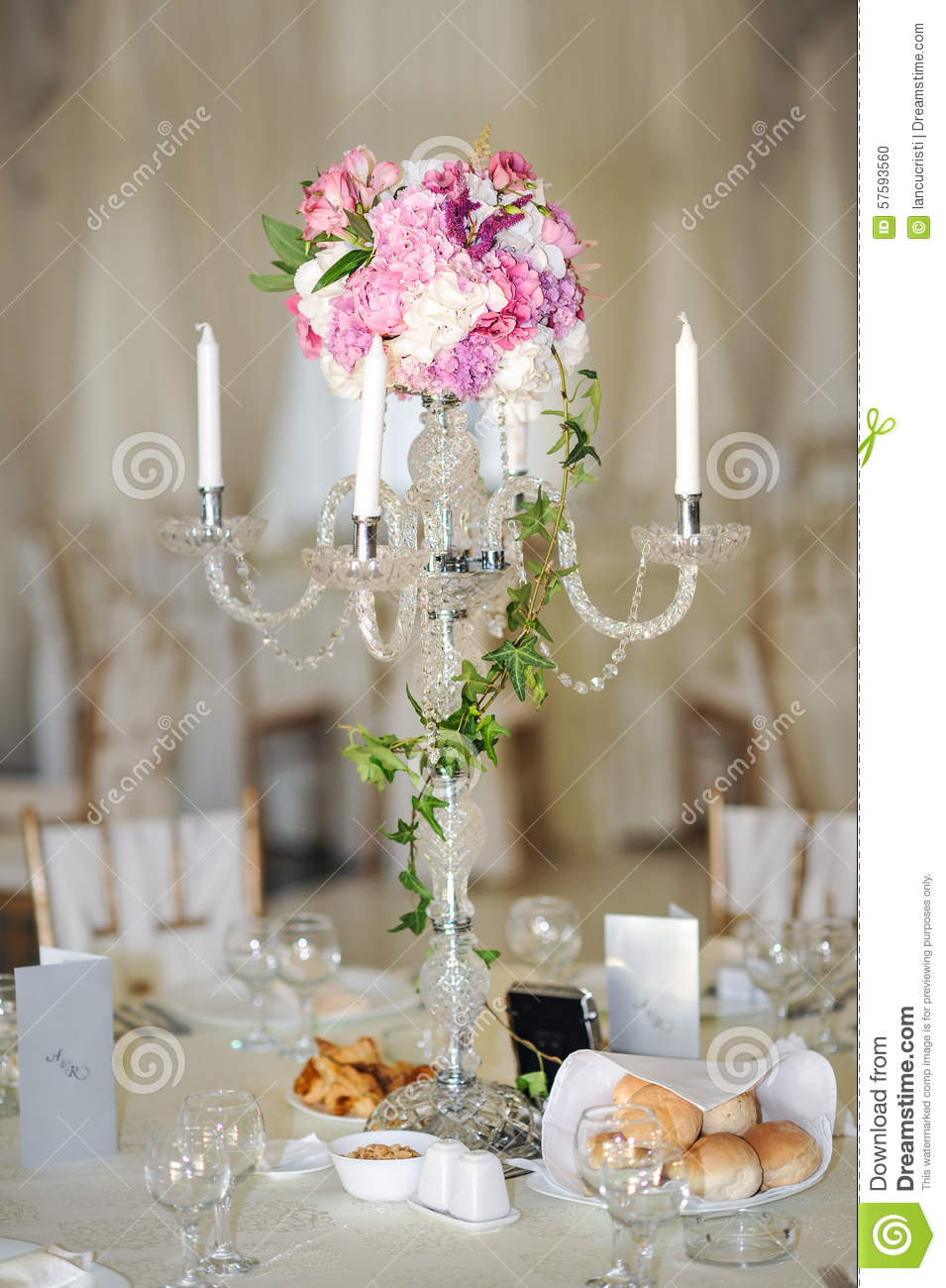 Antique candlestick with wedding bouquet.wedding candlestick with ...
