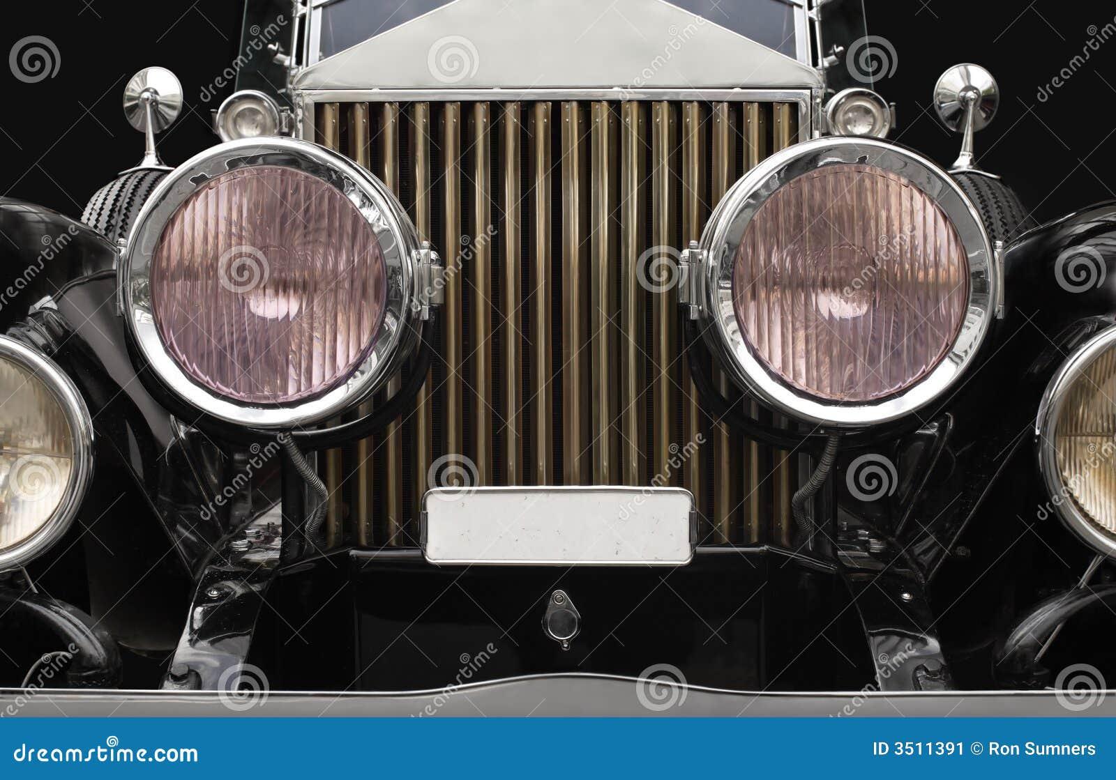 Antique Automobile Headlamps : Antique car headlamps stock image