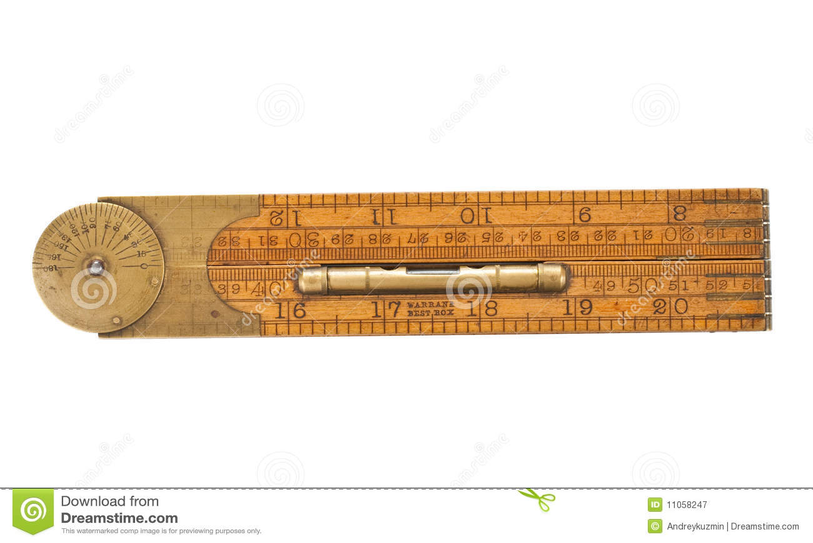 Antique Carpenter S Folding Ruler Of 19th Century Stock