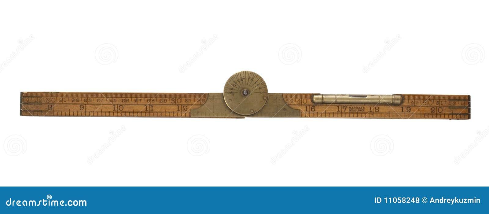 Antique carpenter s folding ruler of 19th century