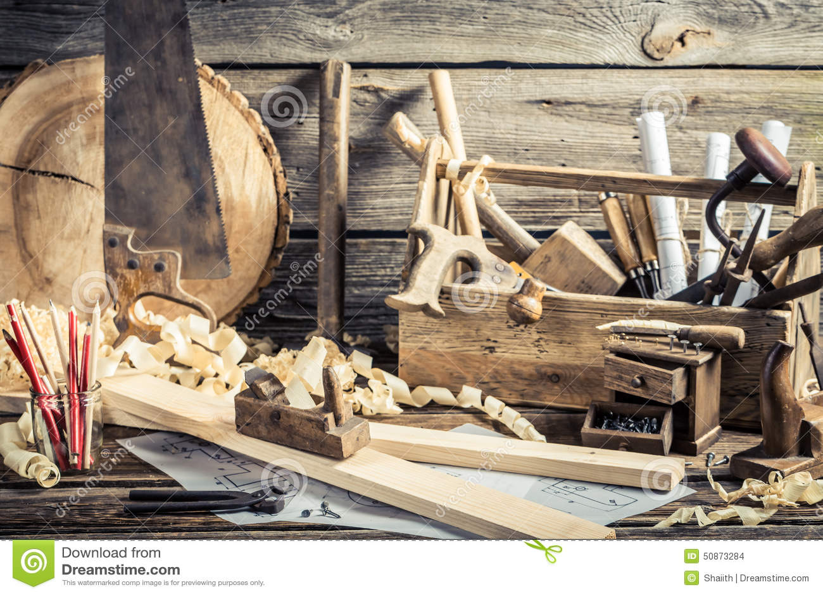 Craftsman Furniture Plans Antique Carpentry Workshop Stock Photo Image 50873284