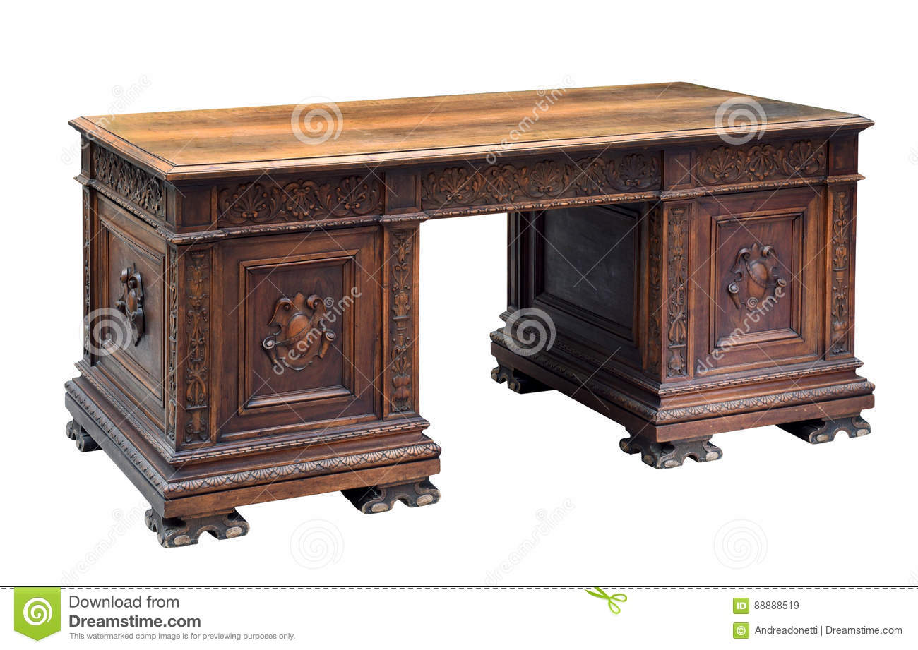 Antique Carved Mahogany Writing Desk Stock Image Image Of Writing Carved 88888519