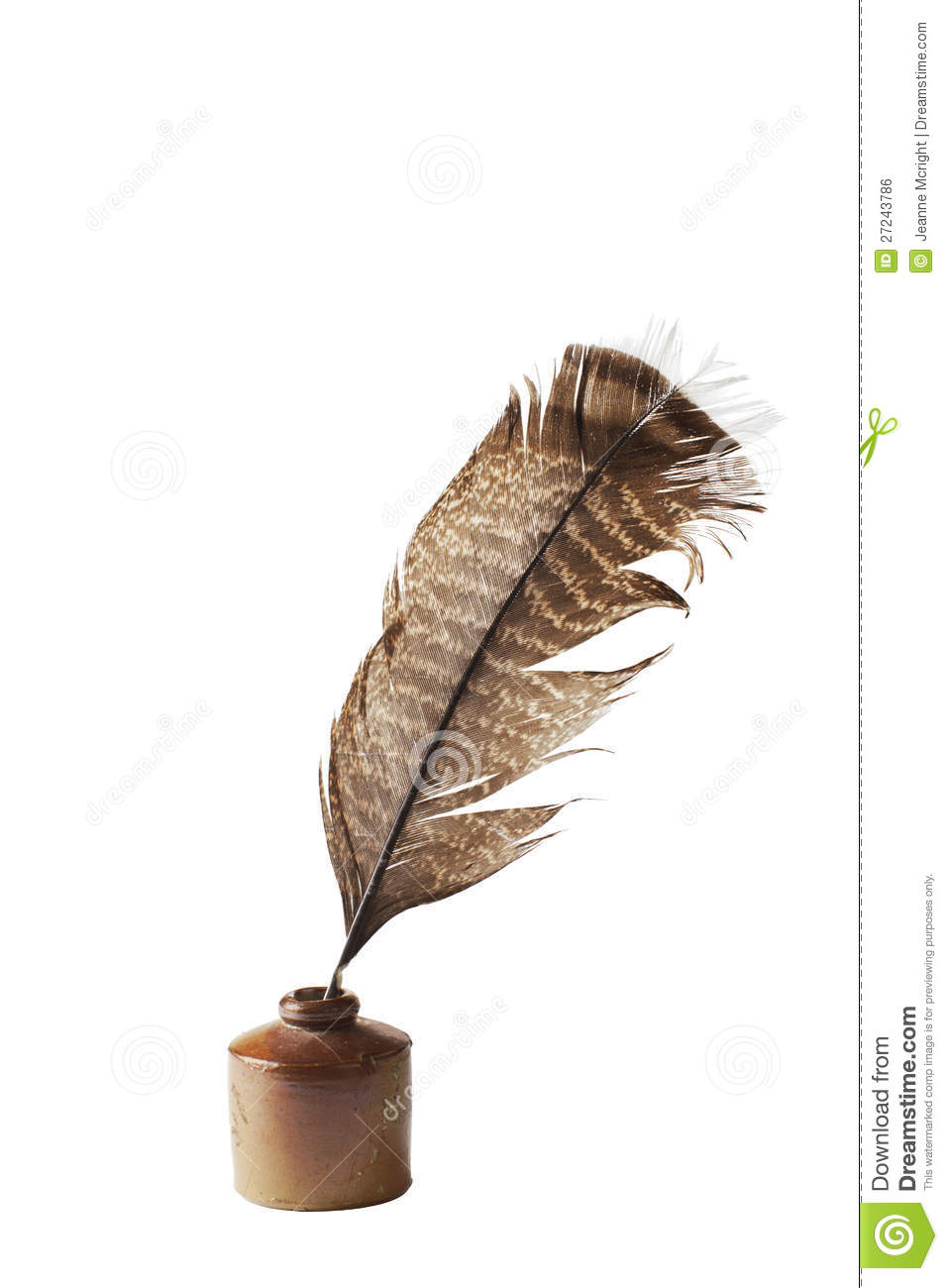 antique ceramic ink well and feather quill pen stock photo