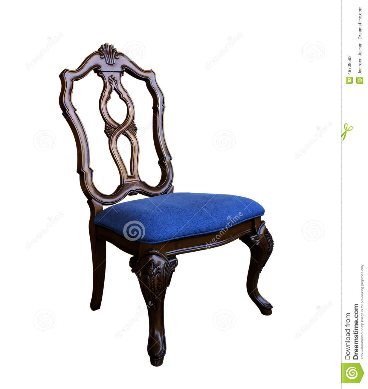 Antique Chair with Cushion isolated with clipping path - Antique Chair Stock Image. Image Of Seat, Retro, Teal - 48708593