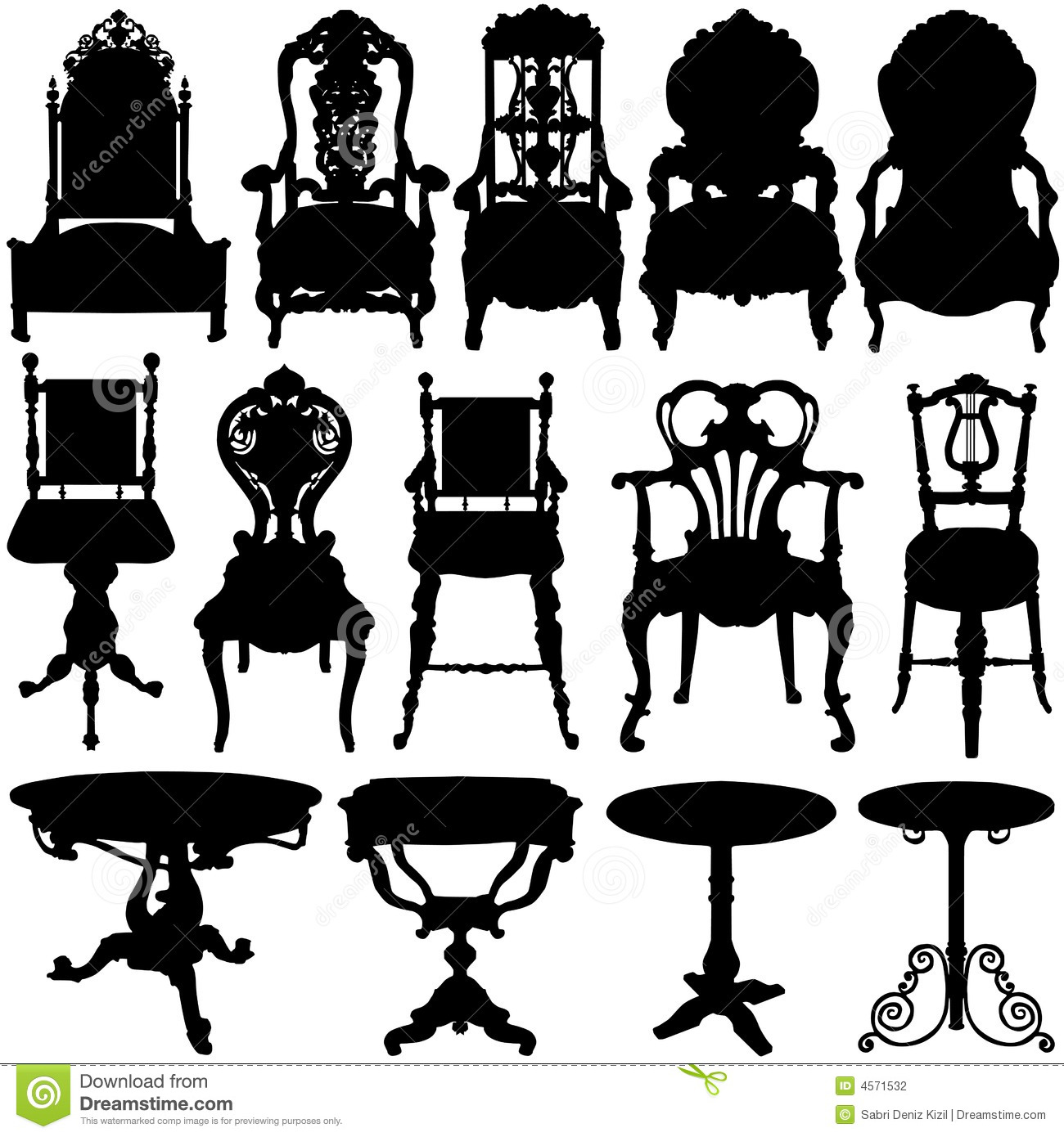 Antique Chair And Table Vector Stock Photography - Image ...