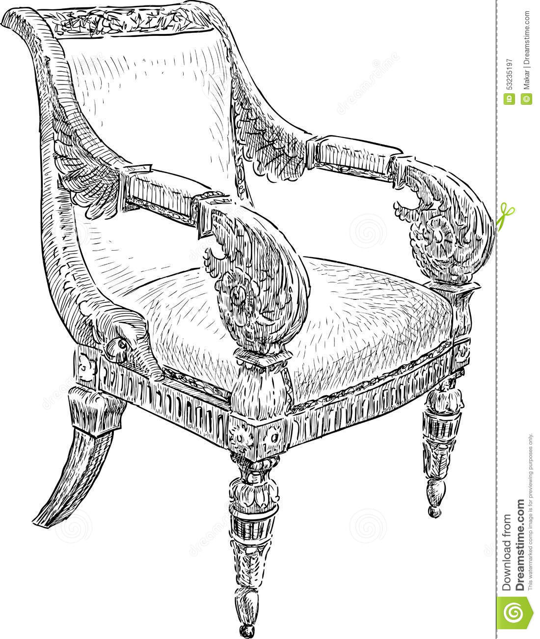 Antique chair drawing - Antique Chair