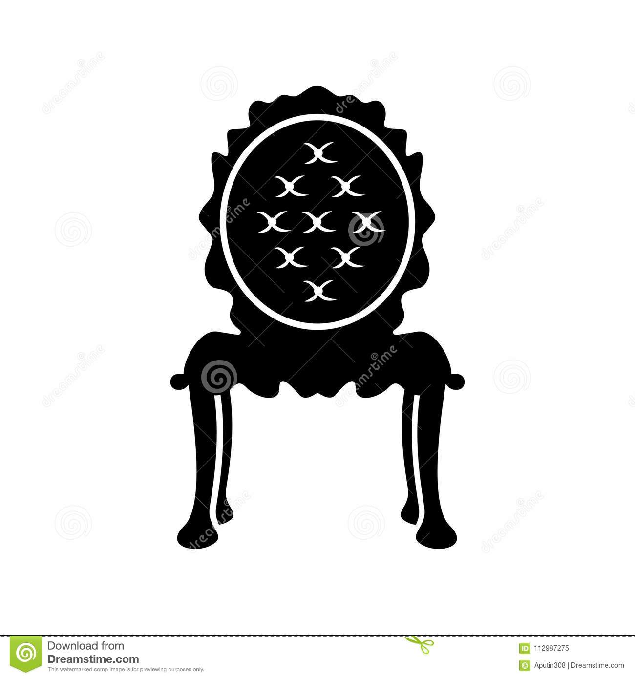 Antique chair web icon vector. black isolated - Antique Chair Web Icon Vector. Black Isolated Stock Vector