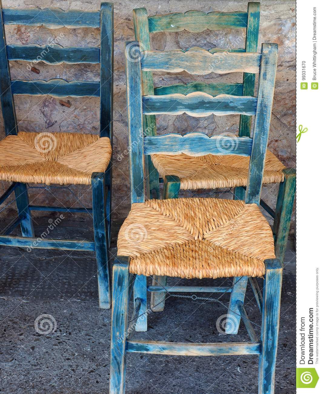 Antique Chairs With New Cane Seats, Greece - Antique Chairs With New Cane Seats, Greece Stock Photo - Image Of