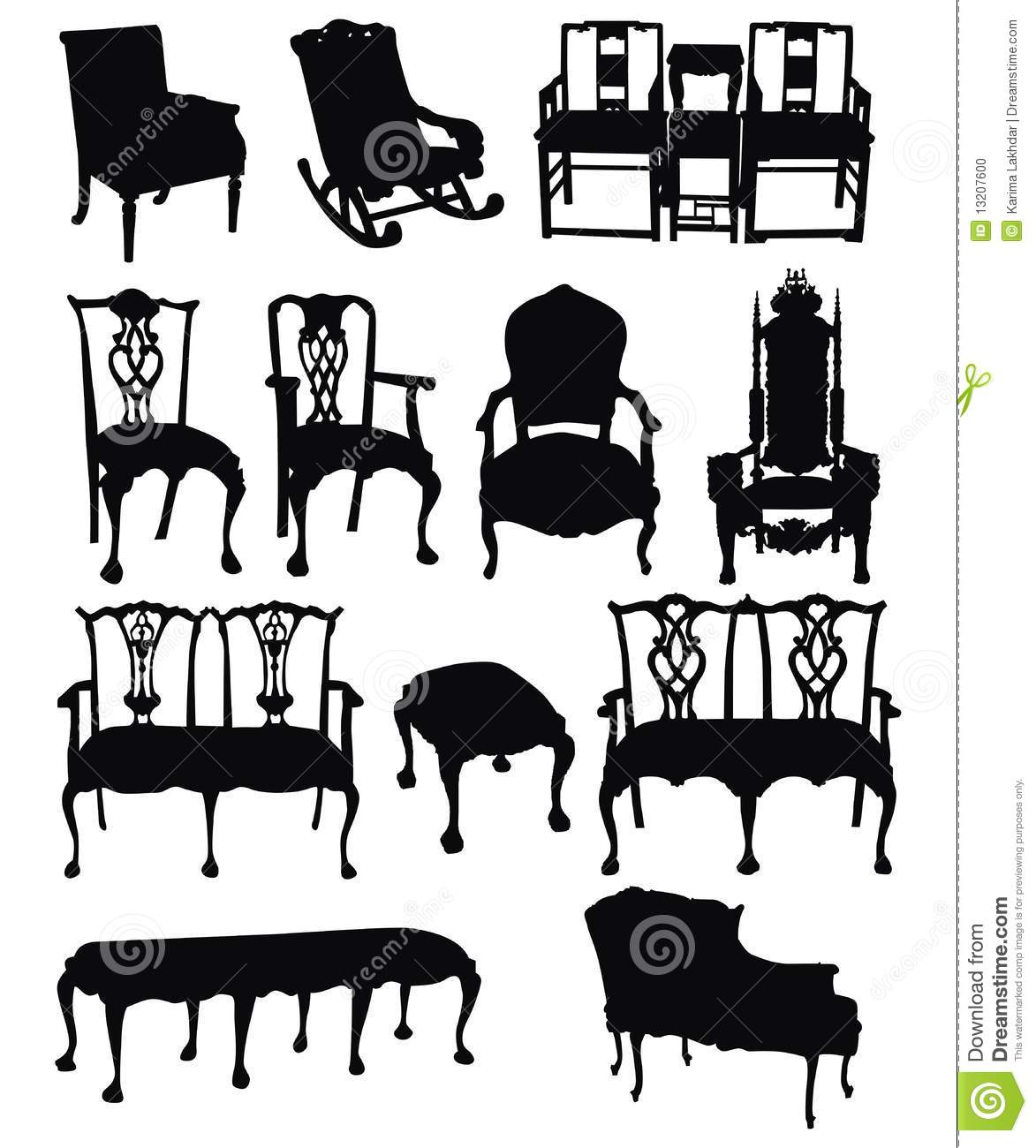 Antique chair silhouette - Antique Chairs Silhouettes