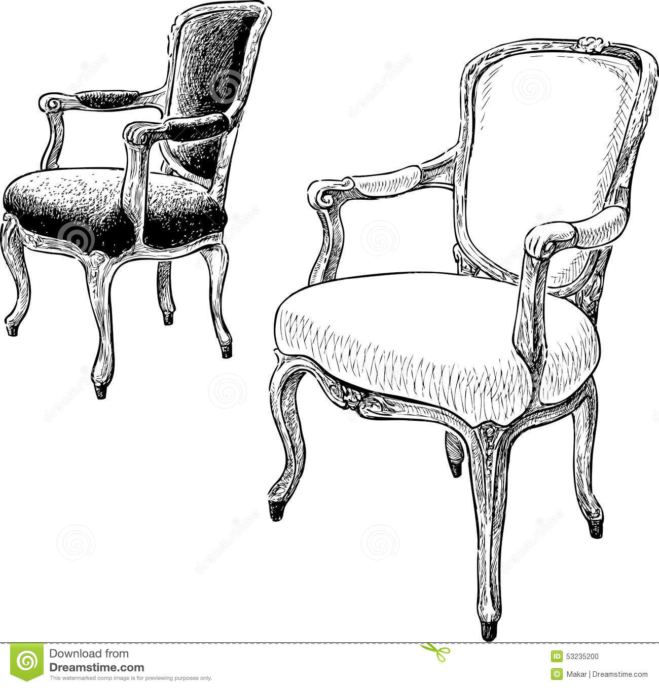 Antique Chairs Stock Vector Illustration Of Ancient