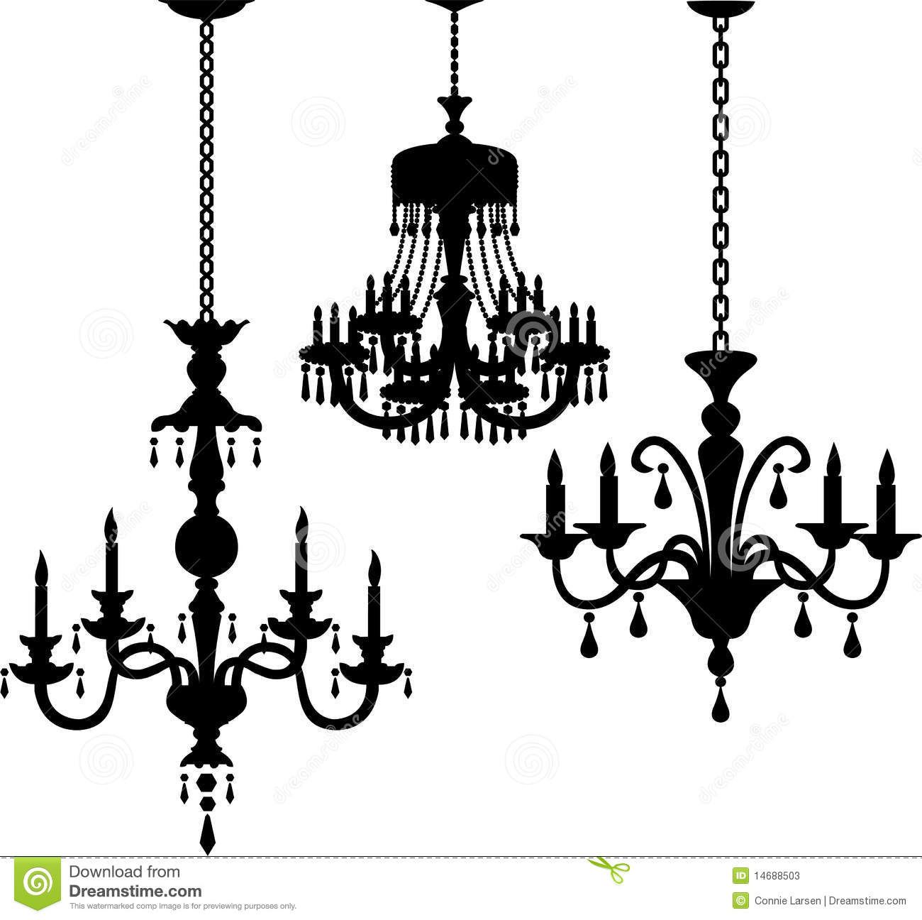 Antique Chandelier Silhouettes Eps Stock Vector