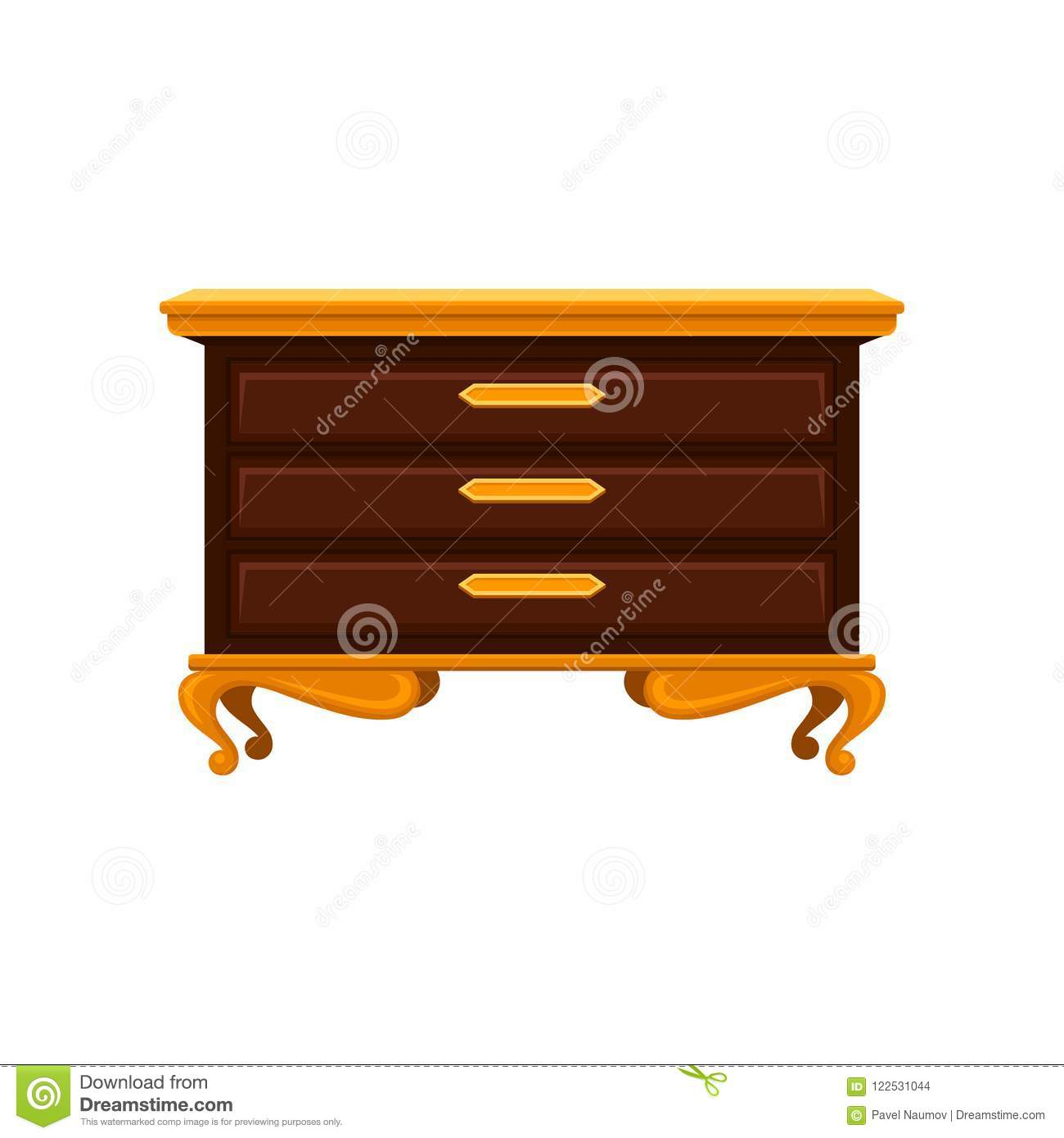 Antique Chest Of Drawers With Golden Legs Handles And Top Surface
