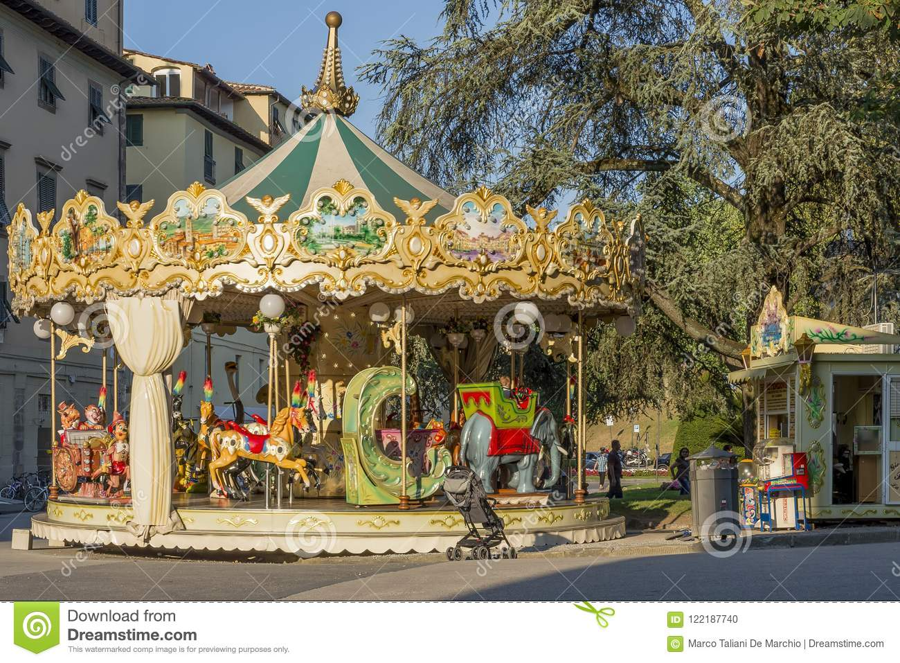 Antique Children`s Carousel In The Historic Center Of Lucca