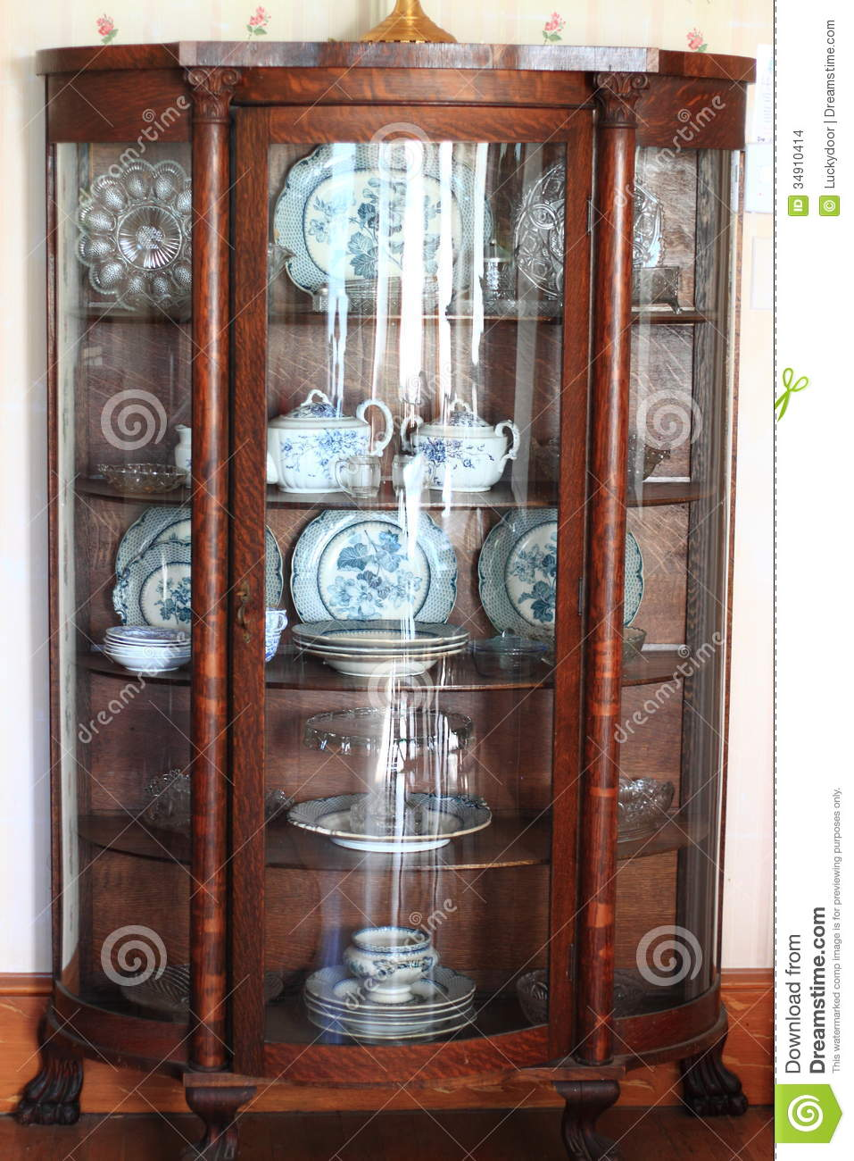 Antique China Cabinet - Antique China Cabinet Stock Photo. Image Of Hardwood - 34910414
