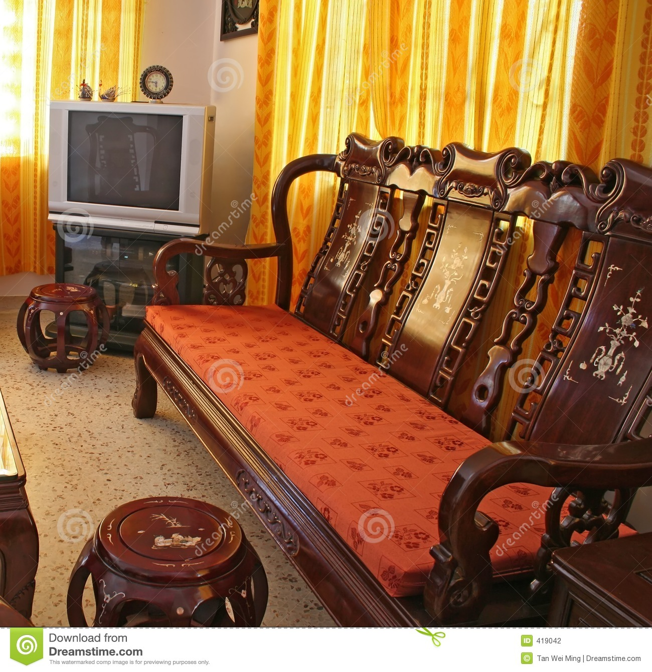 antique chinese furniture living room rosewood ... - Antique Chinese Rosewood Furniture Stock Photography - Image: 419042