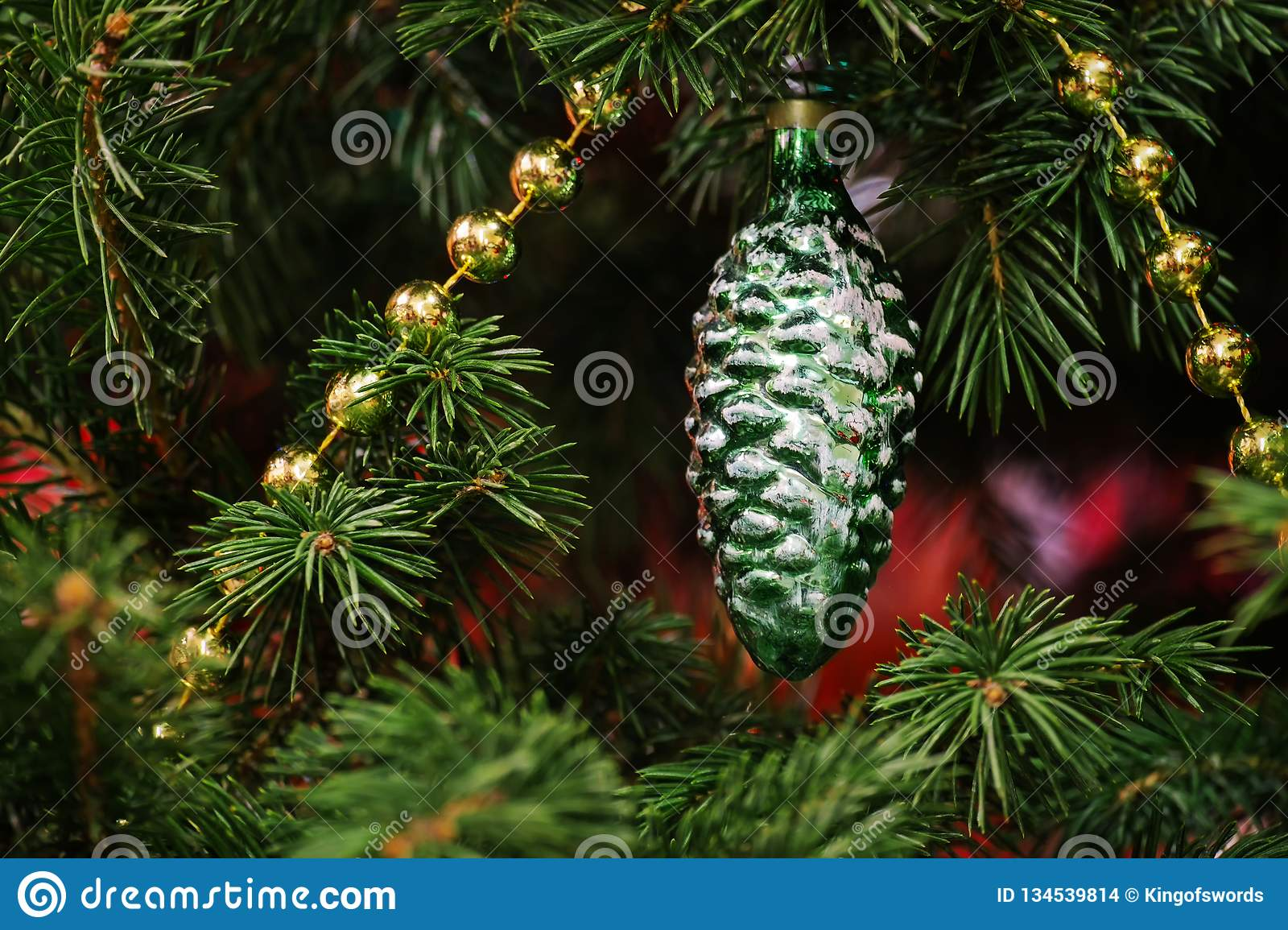 Antique Christmas Tree Decoration Since The Ussr Fir Cone Christmas Tree Toy In The Green Branches Of Spruce Stock Photo Image Of Ball Style 134539814