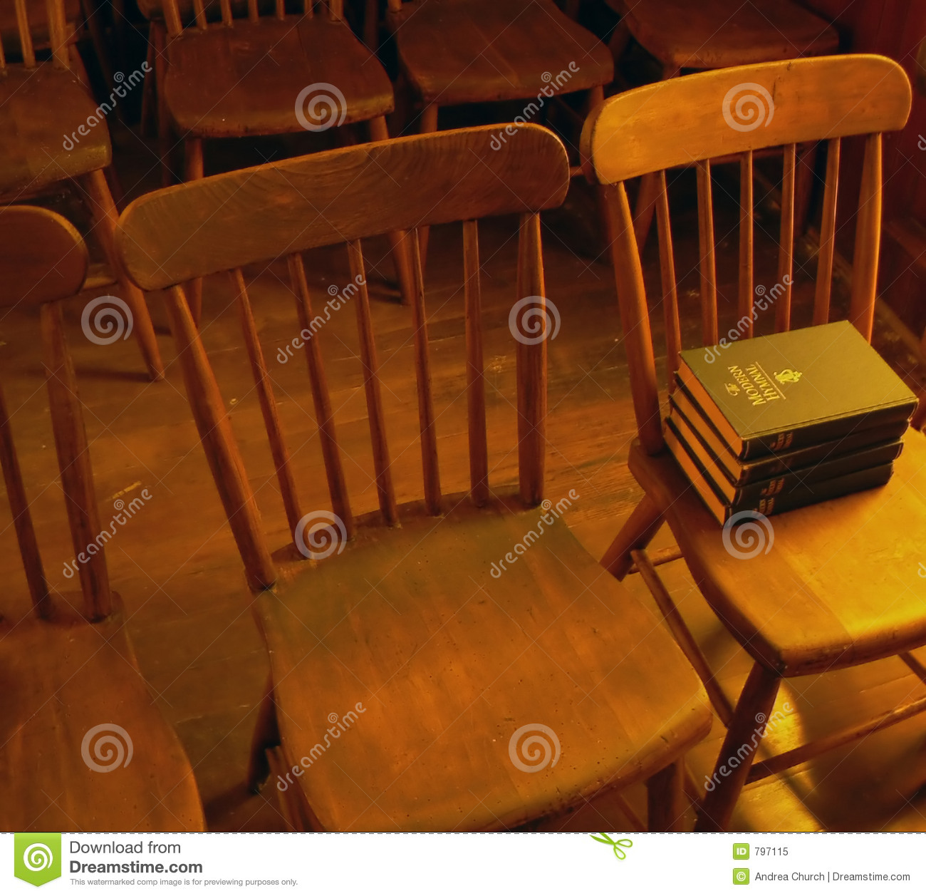 Antique Church Chairs With Hymnals Stock Image Image Of