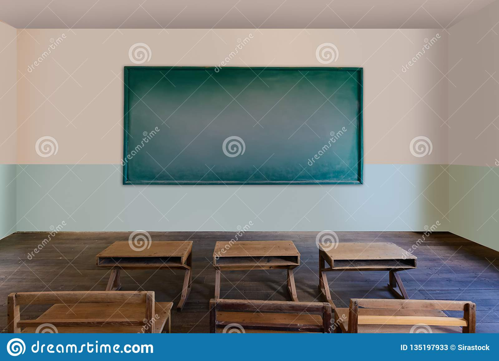 Antique classroom in school with Rows of empty wooden desks Wooden chair and benchesstudy desk and chair blackboard & Antique Classroom In School With Rows Of Empty Wooden Desks Stock ...