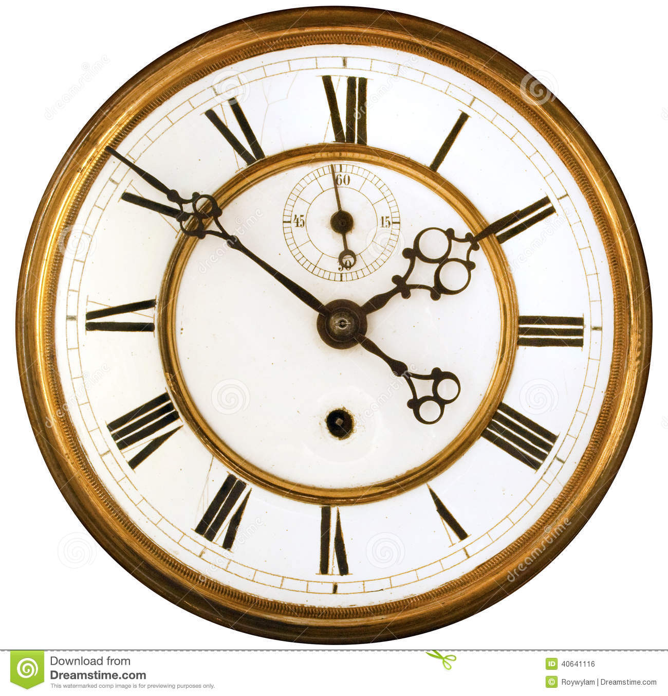 Antique Clock Face Isolated Stock Photo Image 40641116