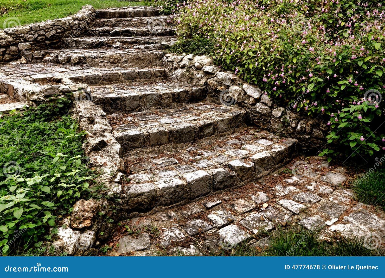 Antique Cobblestone Stairway In Landscaped Garden Stock