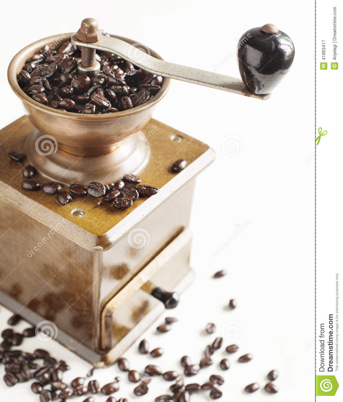 Download Antique Coffee Grinder With Coffee Beans Stock Image - Image of vintage, natural: 41883417