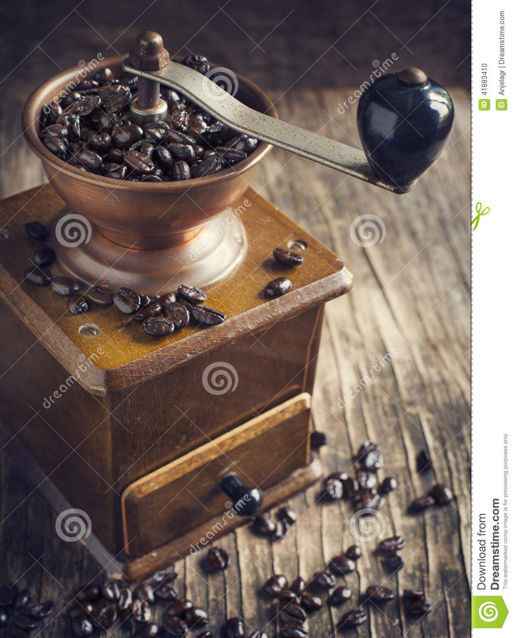 Download Antique Coffee Grinder With Coffee Beans Stock Photo - Image of mill, dark: 41883410