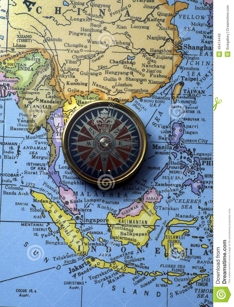 Antique compass on map (South East Asian Region)
