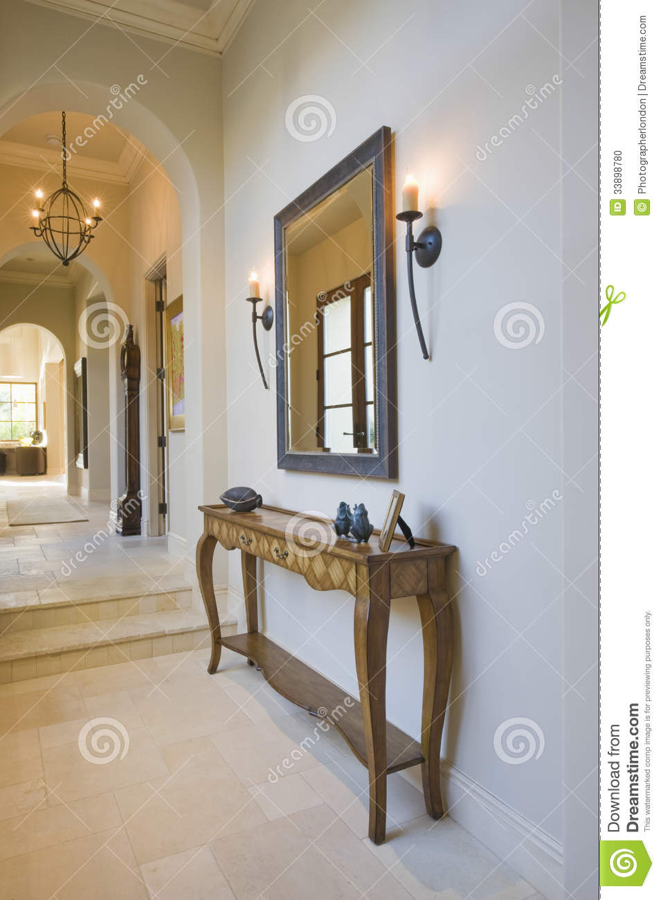 Antique Console Table With Mirror In Hallway Stock Photo Image 33898780