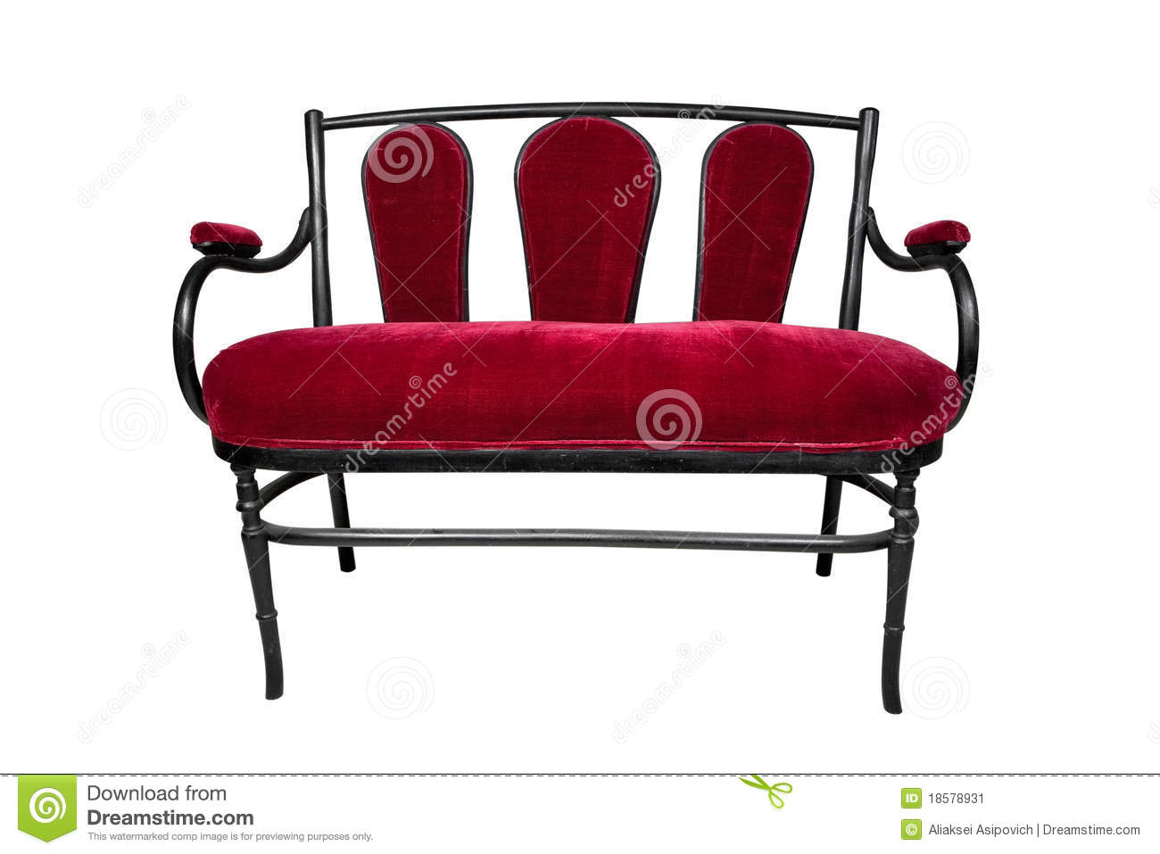 Antique Couch Red Bench Stock Image Image 18578931