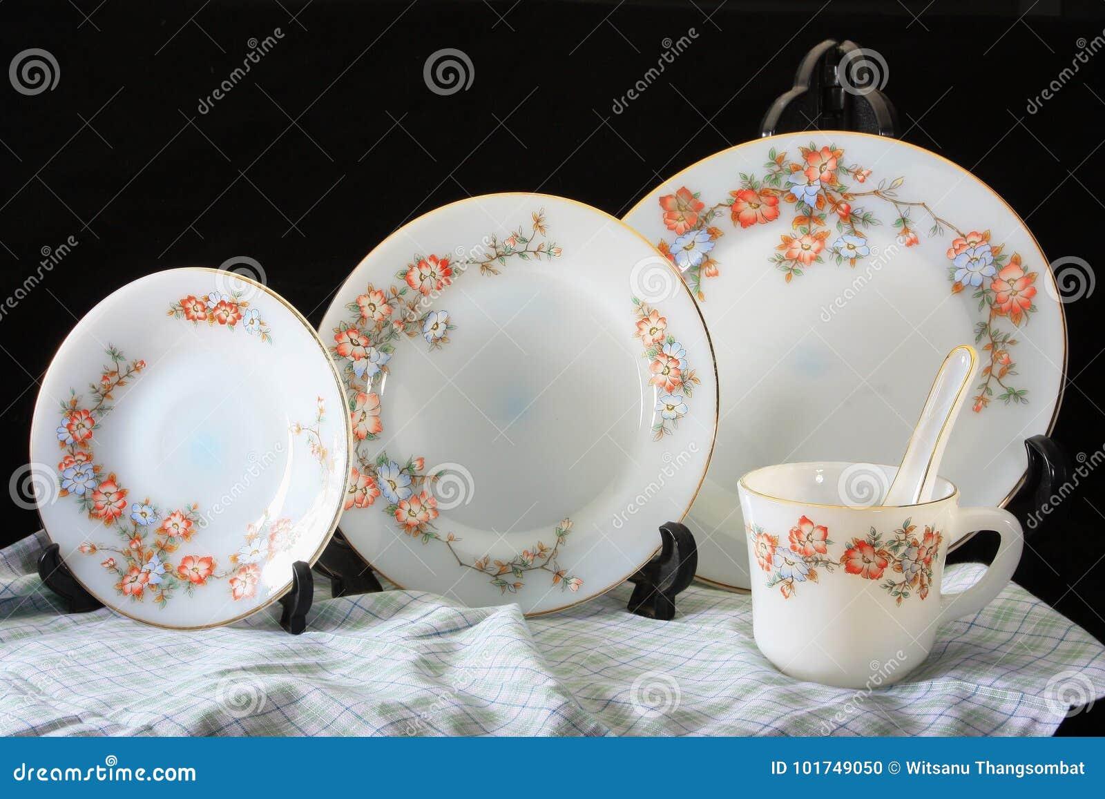 Antique Crockery Set Set Of Tableware Stock Photo Image Of