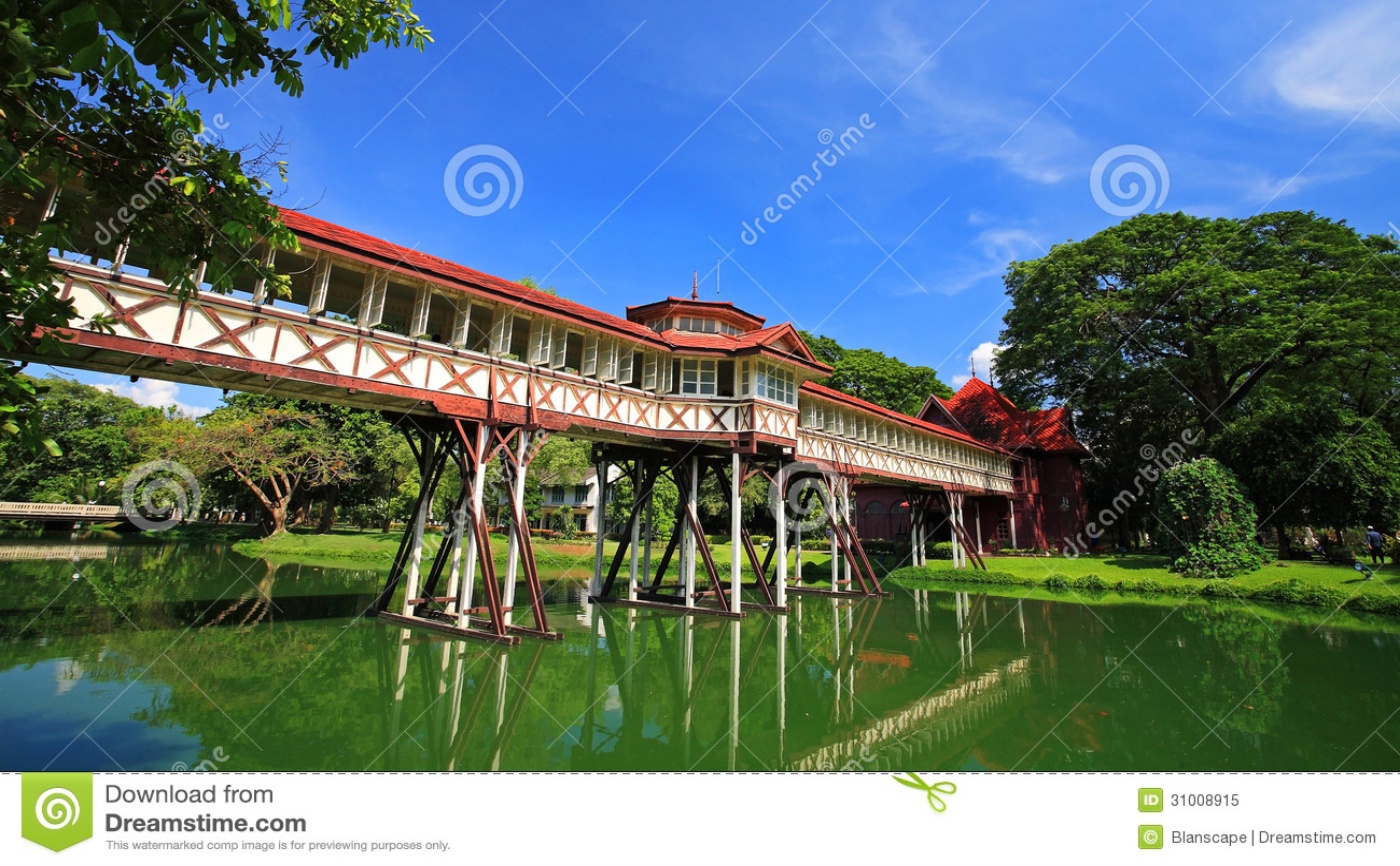 Antique Cross Bridge Of Sanam Chan Palace Royalty Free ...