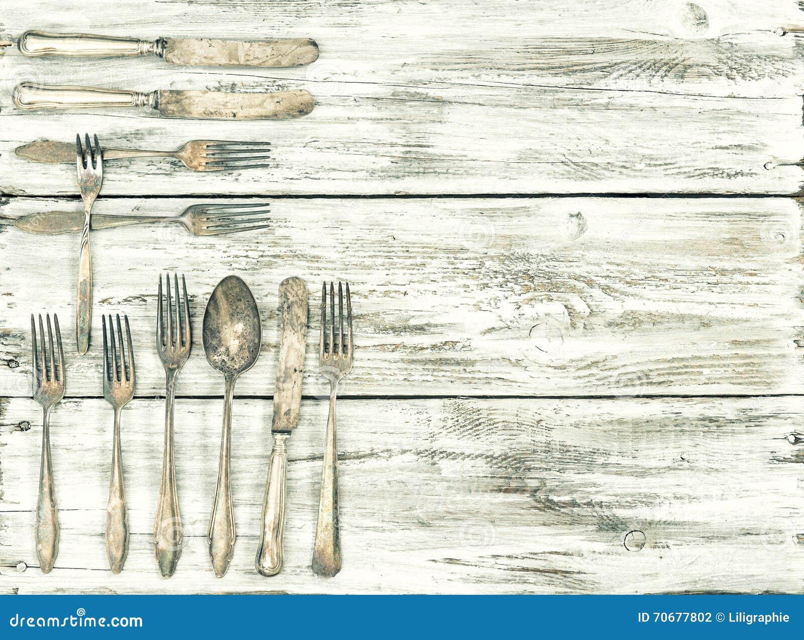 Vintage Kitchen Background ~ Antique cutlery wooden background kitchen utensils vintage