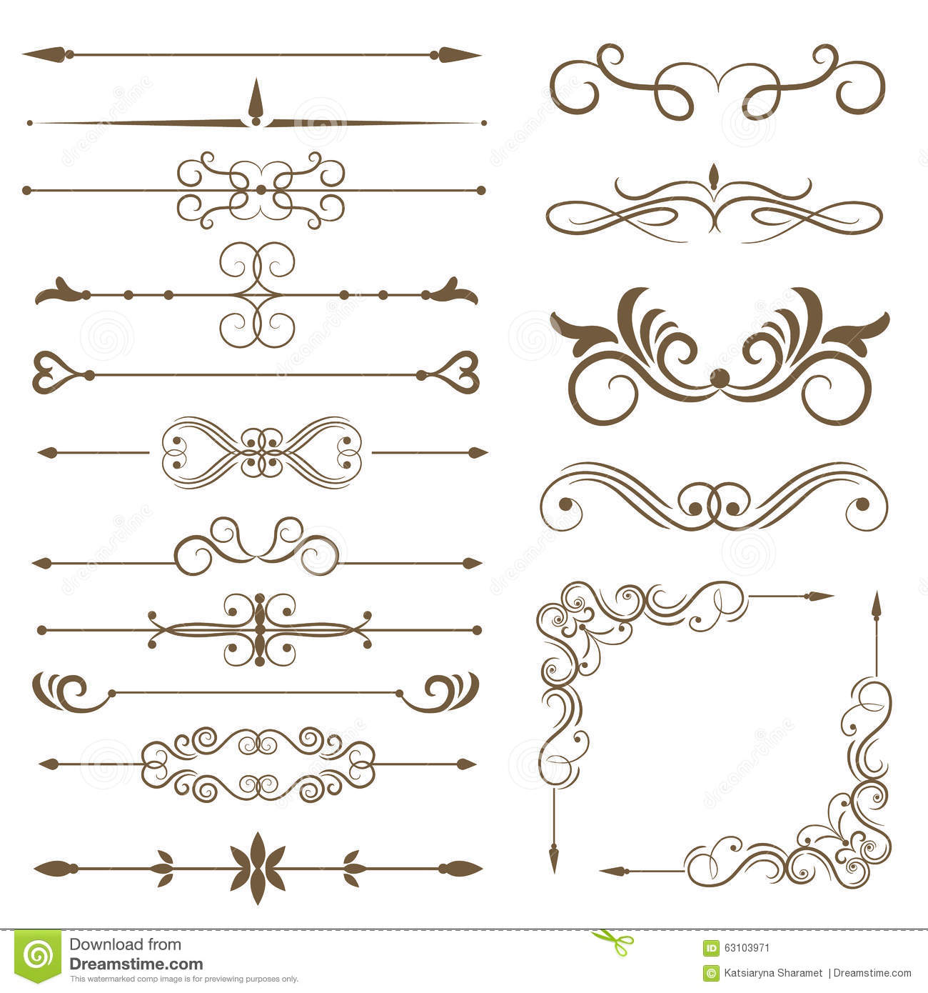 Antique Scroll Line: Antique Decorative Elements, And Scroll Elements, Set Page